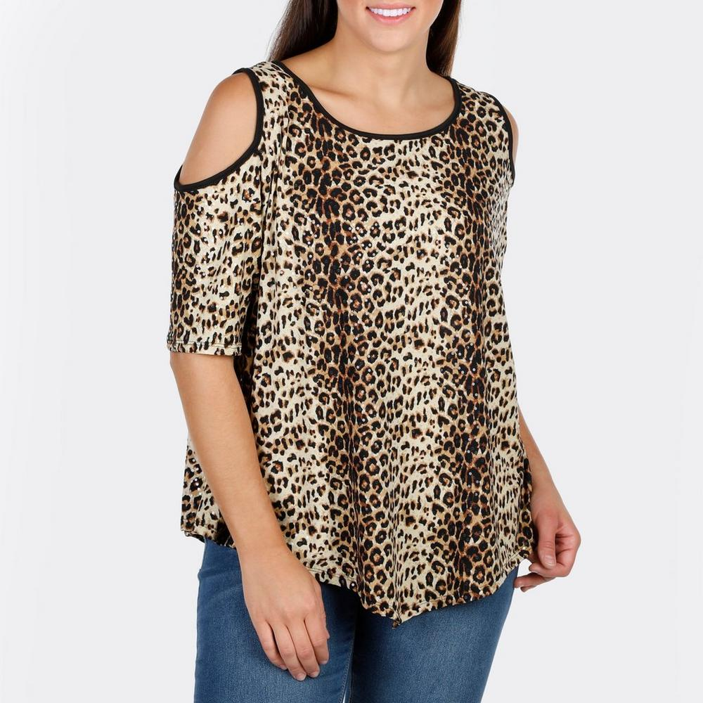 3bc50edb9673b Women s Plus Cheetah Shimmer Cold Shoulder Top - Multi