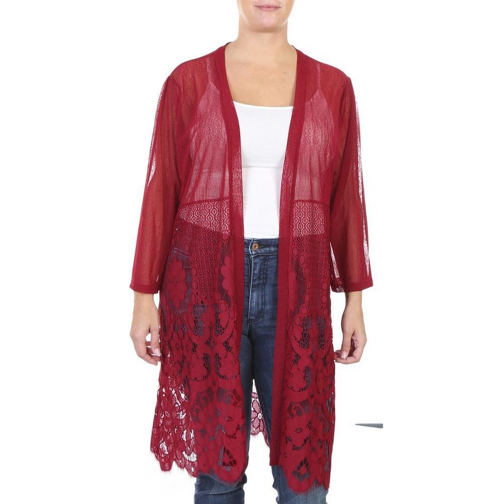 3074de937b6 Women's Plus Lace & Mesh Sheer Long Cardigan - Burgundy