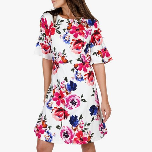 c10170865c10 Women s Floral   Button Bell Sleeve Dress - White Multi