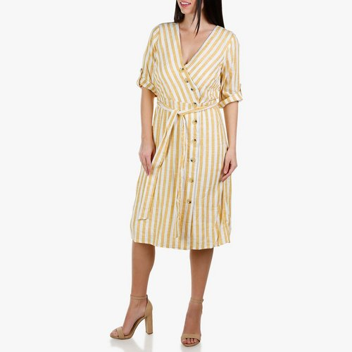 38a228e03f7 Women s Wrap Button Front Striped Dress - Yellow
