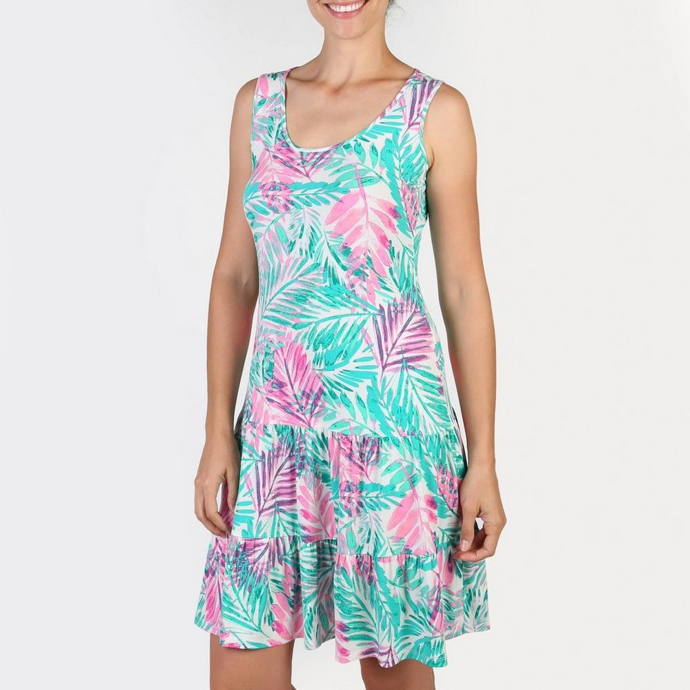 e55b7448cf4e1 Women's Palm Ruffle Dress - Pink & Green | Burkes Outlet