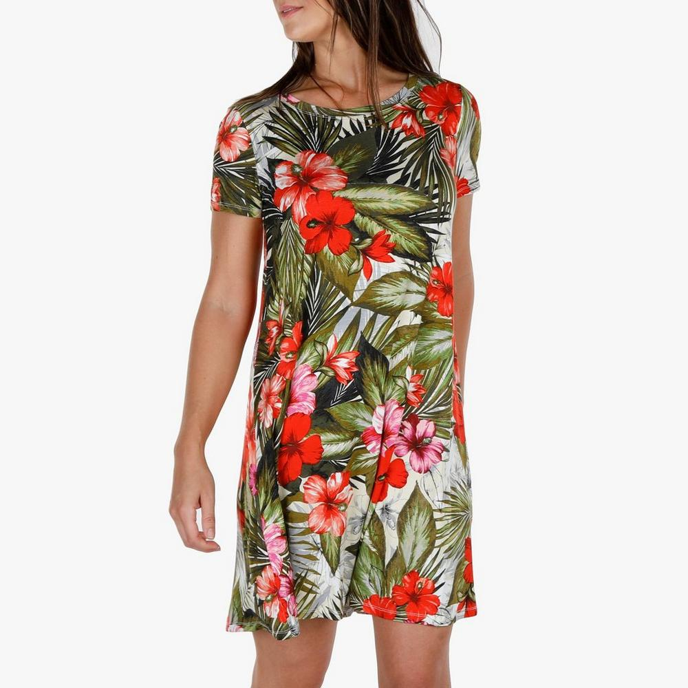c4c1d9d0455 Women s Floral Print T-Shirt Dress - Green
