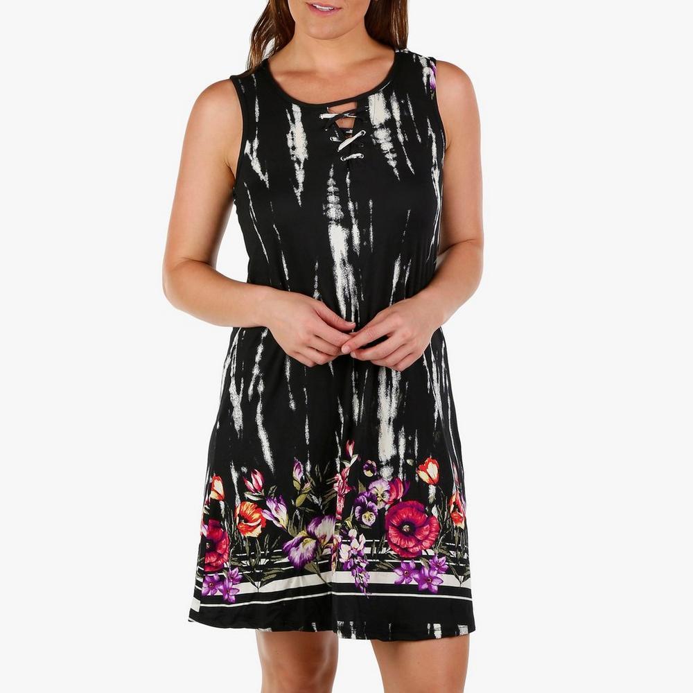 470f40a80def Women's Sleeveless Ty-Dye Floral Border Dress - Black Multi | Burkes Outlet