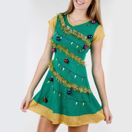Christmas Green Dress.Junior Christmas Tree Ugly Sweater Dress Green