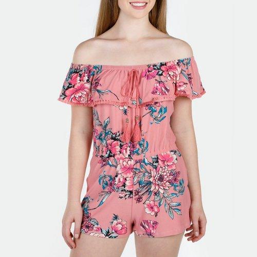 44763d303812 Junior Floral Ruffle   Tassel Off Shoulder Romper - Rose. M  L. More Sizes
