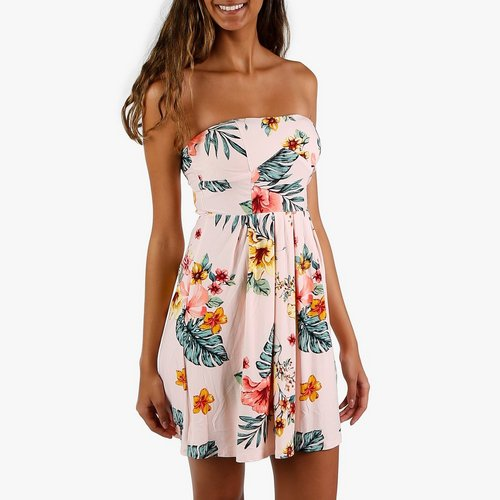 1294db829dcc2 Junior Floral Print Strapless Dress - Pink Multi