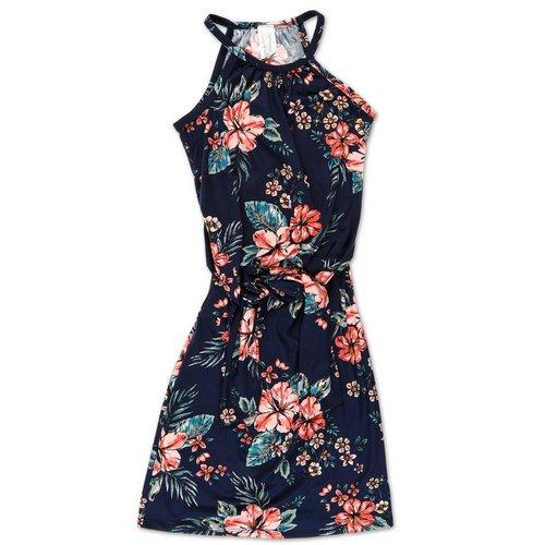 ff90f4d385f4 Junior Floral Print Front Tie Dress - Navy