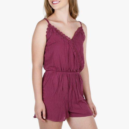 b88098957e04 Junior Crochet Wrap Gauze Romper - Lavender