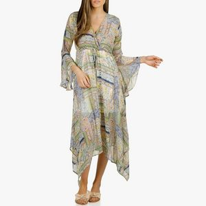 Muchy Maxi Dress with Pocket for Women CLEARENCE Cold Shoulder Sleeveless Print Dresses Party Beachwear Dress Sale