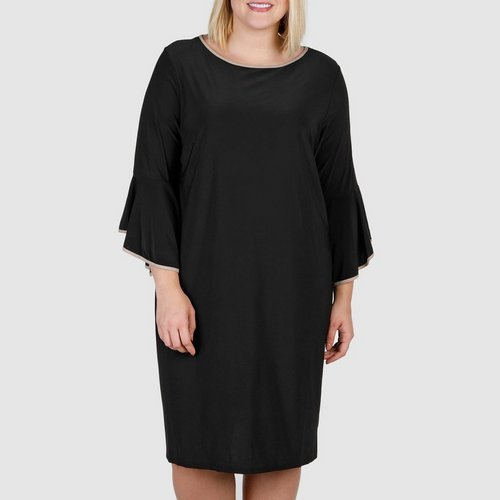 Womens Plus Bell Sleeve Piped Trim Dress Black