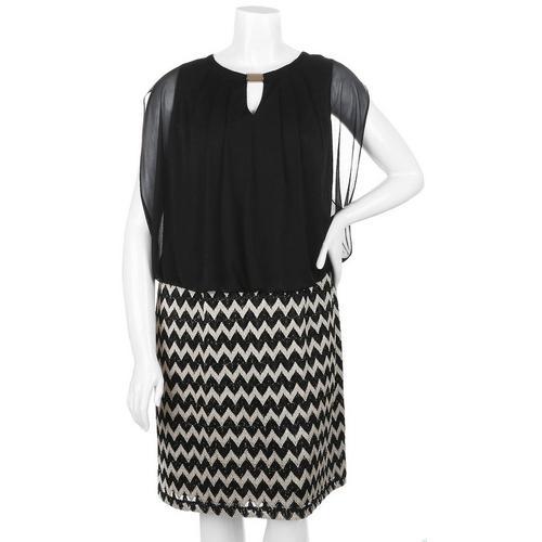 Women\'s Plus Size Chevron Skirt Blouson Dress
