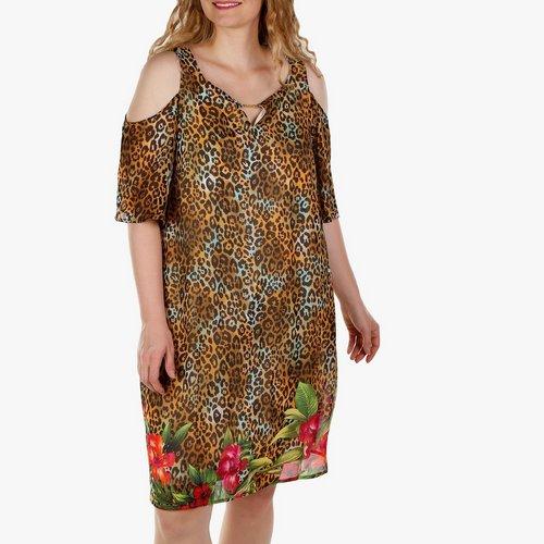 64a4b27ecace82 Women's Plus Leopard & Floral Overlay Cold Shoulder Dress - Multi