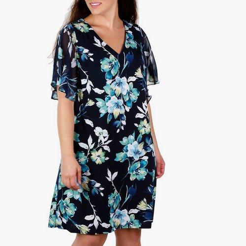ce1665323c Women s Plus Floral Chiffon Sleeve Dress - Blue