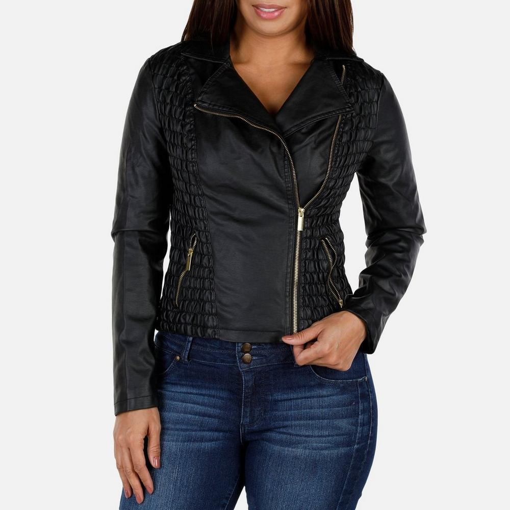 f51f3cd9e1 Women s Ruched Side Vegan Leather Jacket - Black