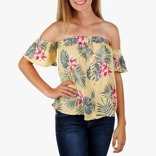 8159c32bfa Juniors Floral Print Off Shoulder Top - Yellow