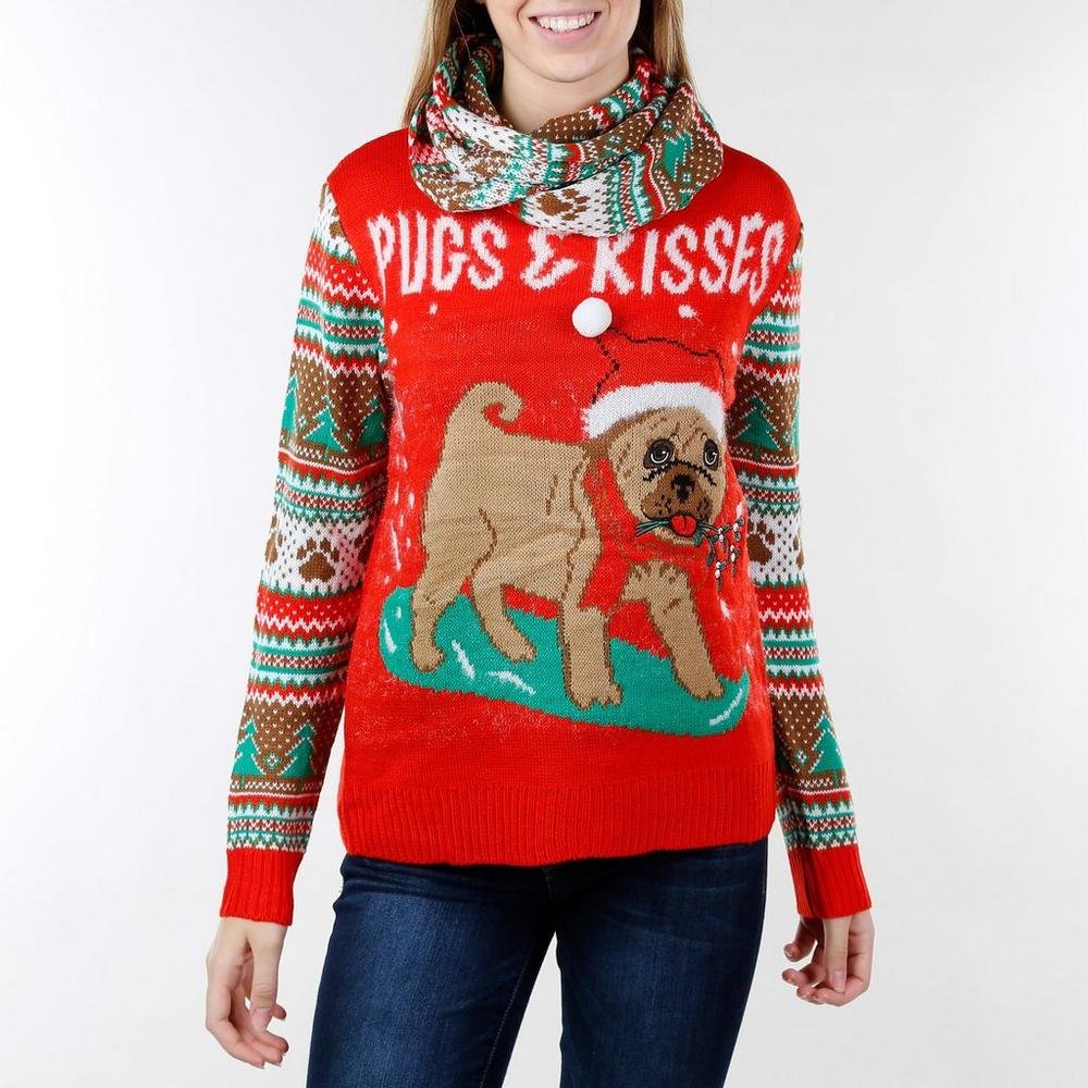 Junior Pugs & Kisses Ugly Christmas Sweater w/ Scarf - Red