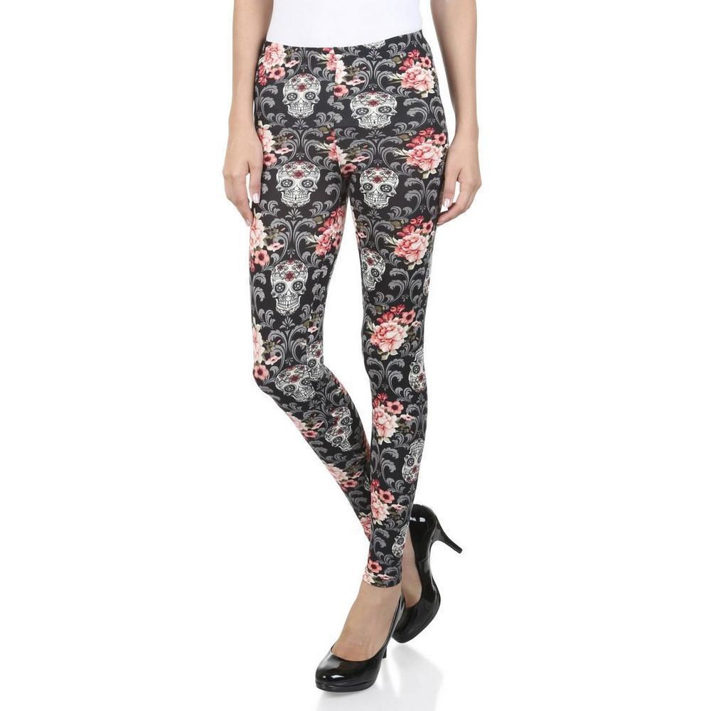07d92147f531c Junior Floral Skull Leggings - Black Multi | Burkes Outlet