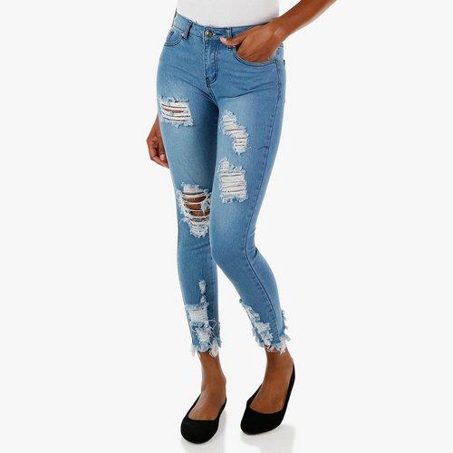 fde1b8a81f6 Junior 5 Pocket Distressed Skinny Jeans - Light Wash