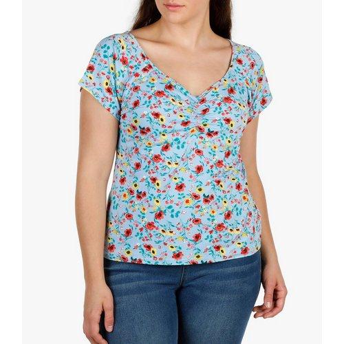 58d9906e046c9 Junior Plus Floral Print Top - Blue Multi