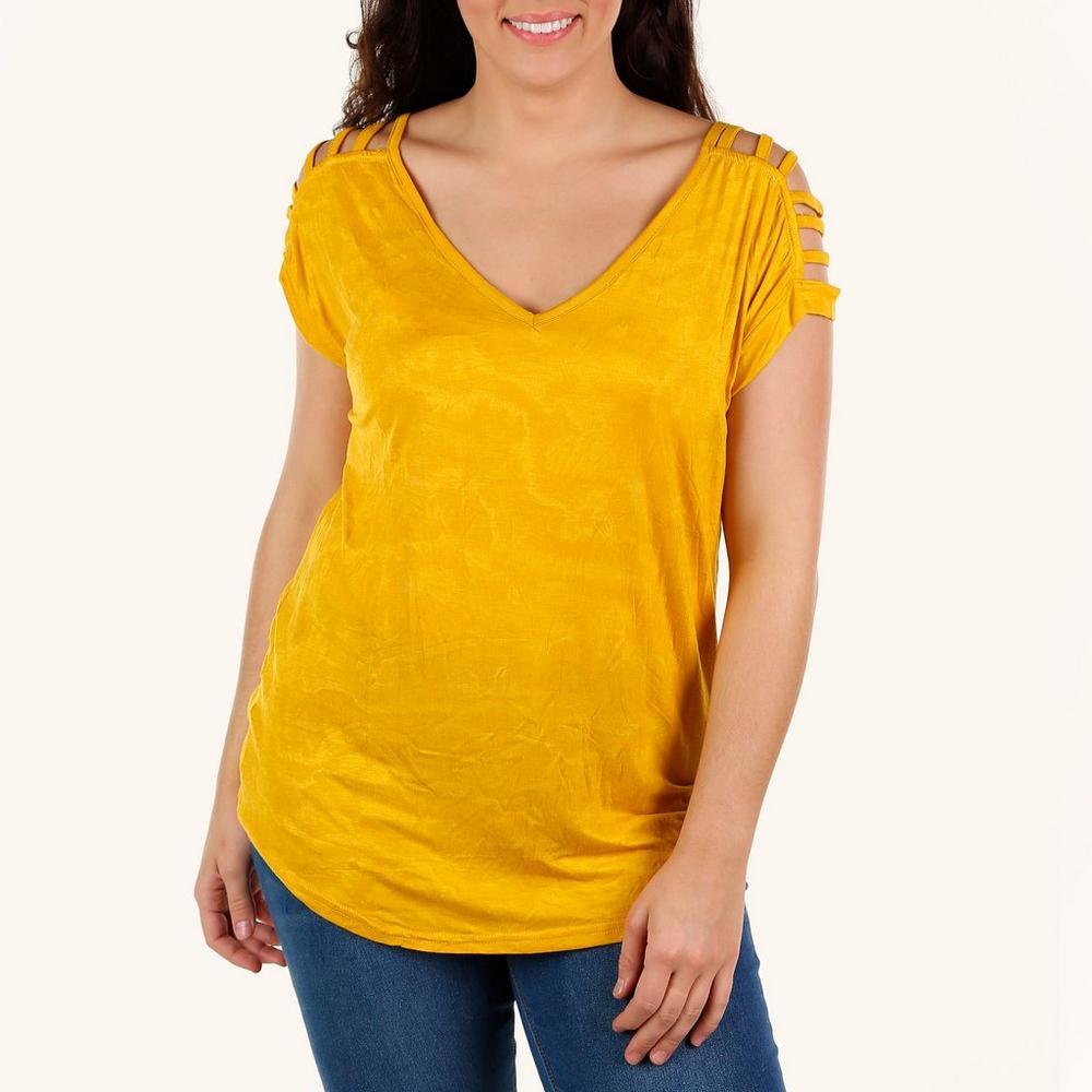2023c0468a Junior Plus Cutout Sleeve Top - Mustard
