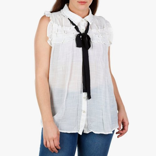 eb45ef6c880 Junior Plus Ruffle Button-Up w  Tie Neck - White