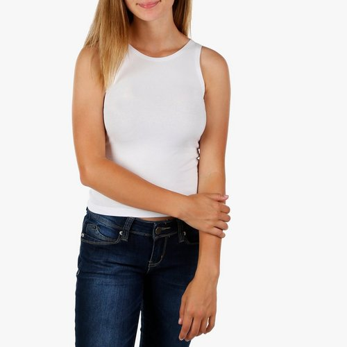 beaacbfcb79 Junior Solid Crop Tank Top - White