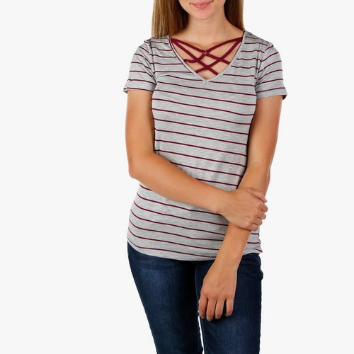 99abce9e553 Juniors Stripe Caged Top - Light Grey