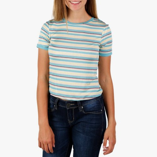 6597c1817d2 Juniors Stripe Crop Top - Sage