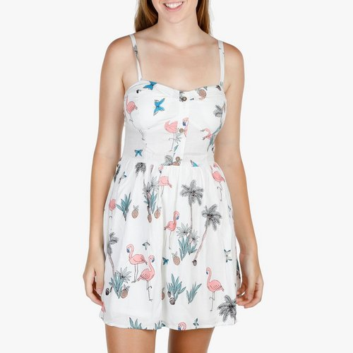 9b1b4ed2be Junior Sleeveless Flamingo Print Dress - White
