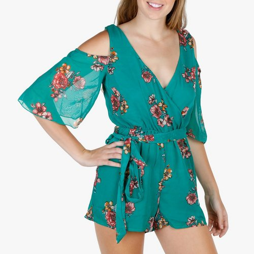 c9b36e4864 Junior Floral Cold Shoulder Romper - Teal