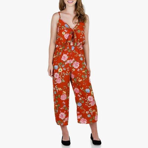 54f56d612473 Junior Floral Print Front Tie Jumpsuit - Orange Multi. S  M  L. More Sizes