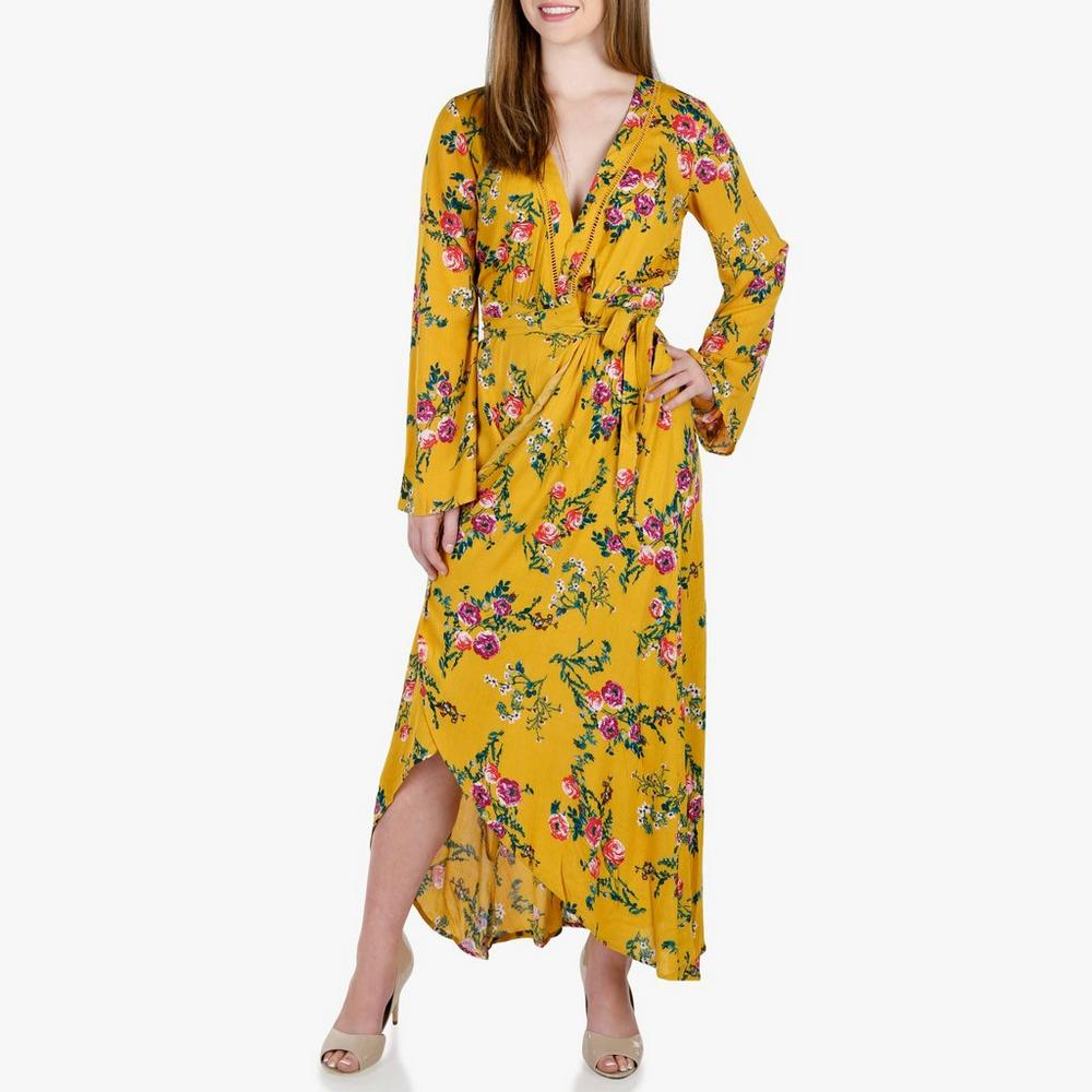 04ea296a3db Junior Floral Wrap Maxi Dress - Gold