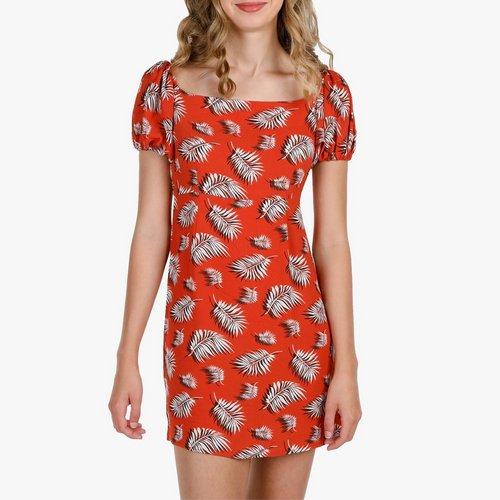 47c38b898 Junior Tropical Leaf Square Neck Dress - Orange