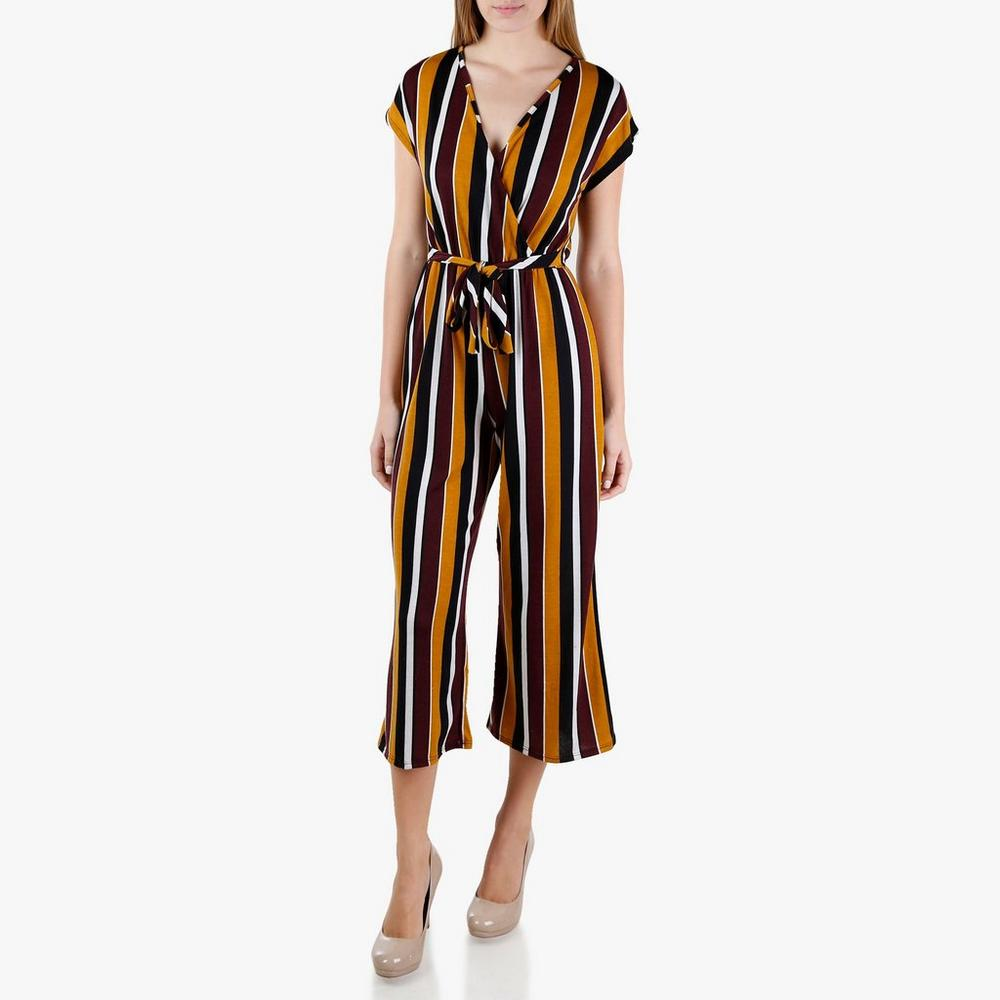 db78648784b Junior Striped Wrap Jumpsuit - Burgundy
