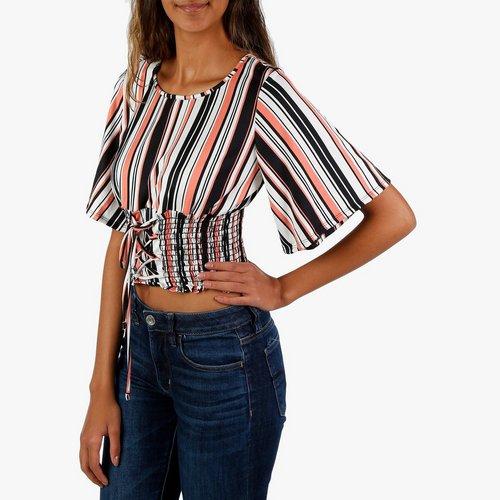 a20f2a816aa778 Junior Stripe Lace Up Crop Top - Pink Multi. M  L  XL. More Sizes