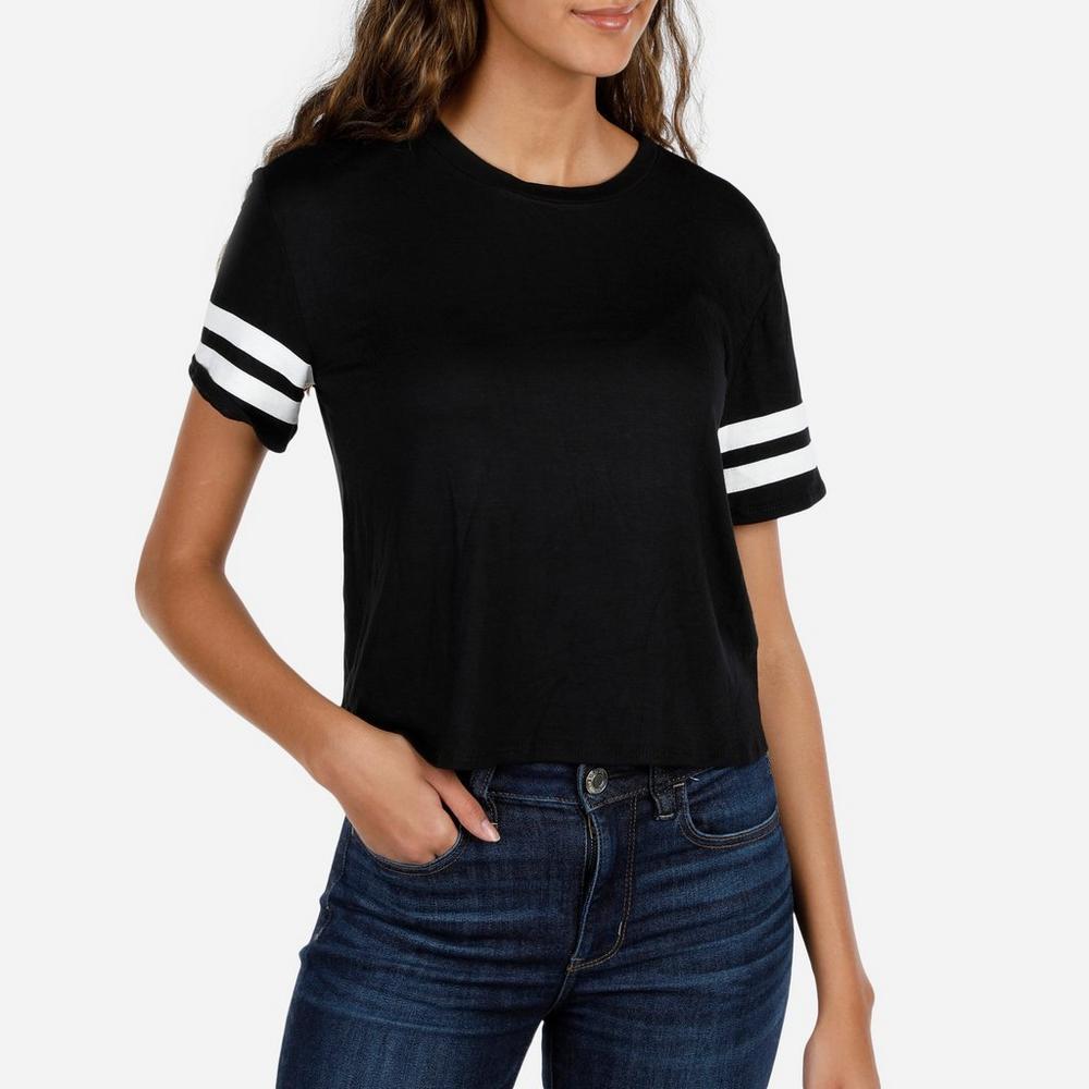 e29447740b2 Junior Active Varsity Sleeve Crop Top - Black