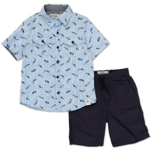 1dba90915a48ad Boys 2 Pc Button-Up Short Set - Blue