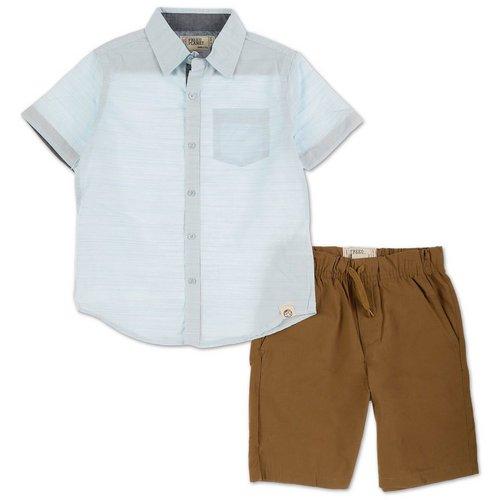 6e3340572 Boys 2 Pc Button-Up Shorts Set - Light Blue (4-7)
