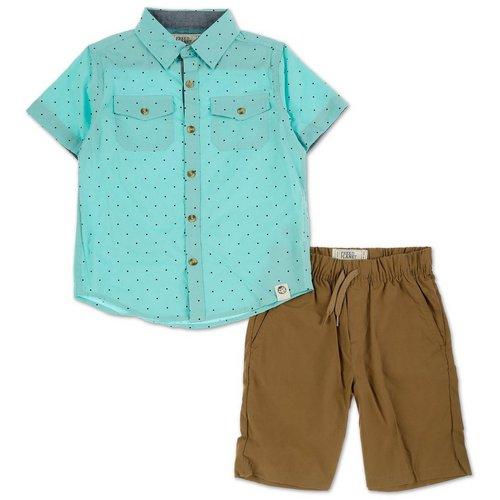 935d81579 Boys 2 Pc Button-Up Shorts Set - Mint (4-7)
