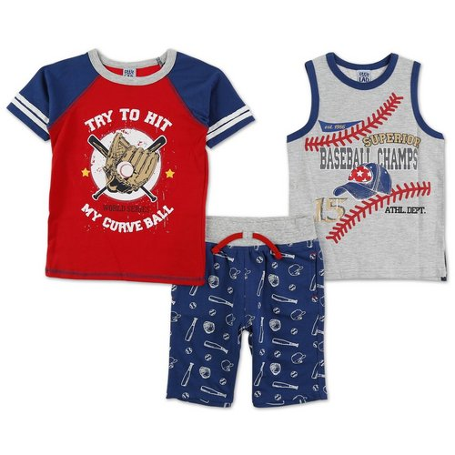 ecf7cf5f002c Boys Baseball 3 Pc Shorts Set - Multi (4-7)