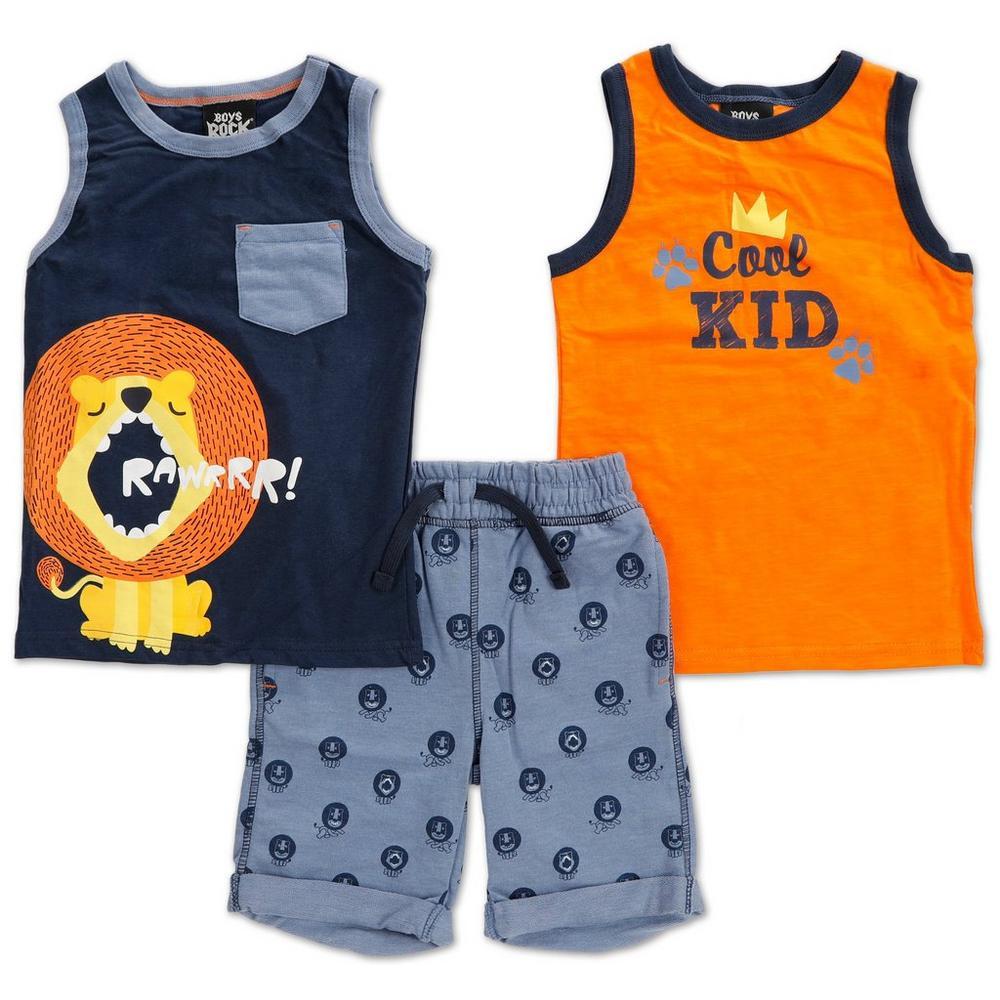 48157d4f Boys 3 Pc Tank & Shorts Set - Multi (4-7) | Burkes Outlet