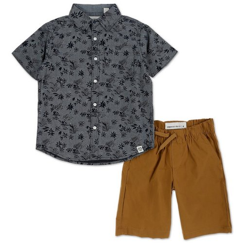 39c59612d Boys 2 Pc Button-Up Shorts Set - Navy (4-7)