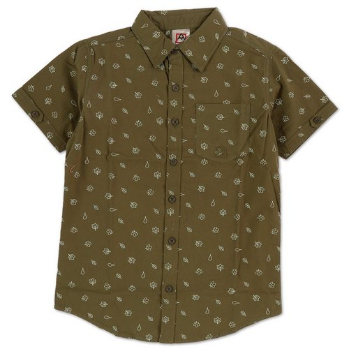 c3645f963 Boys Outdoor Leaves Button Down - Dark/Olive Green (8-20)