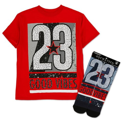 9889a3c77 Boys Good Vibes 23 Graphic Tee w/ Crew Socks - Red (8-20