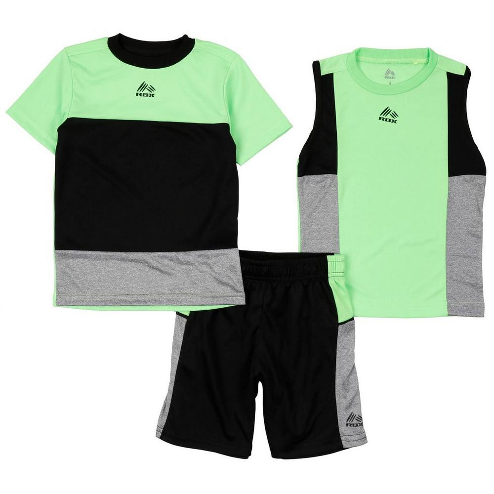 95fe851e3b8b59 Boys  Active 3 Pc Color Block Shorts Set - Lime (4-7)