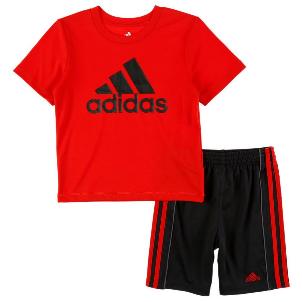 5d2bed88 Boys Active Logo Tee & Shorts Set - Red (4-7)   Burkes Outlet