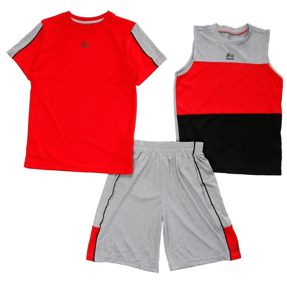 00794435 Boys' Active 3 Pc Color Block Shorts Set - Red (8-20) | Burkes Outlet