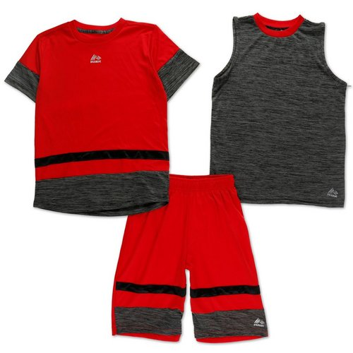 8b1858a7aab Boys Active 3 Pc Short Set - Red (8-12)