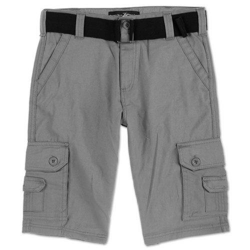 dff30fba18 Boys Twill Cargo Shorts w/ Belt - Grey (8-20)