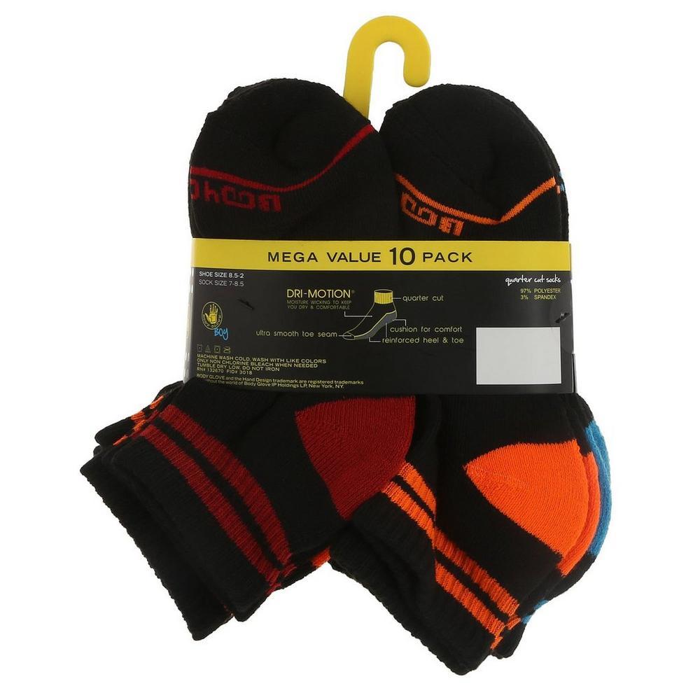New Mens Body Glove 10 Pack Sport Fitness Gym Active White Quarter Cut Socks